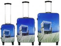 Kofferset 3tlg Reisekoffer Polycarbonat Hartschale Strandkorb