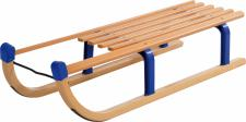 Holzrodel, Rodelschlitten, Holzschlitten DAVOS 100 cm, blaue Schutzkappen / Metallstreben