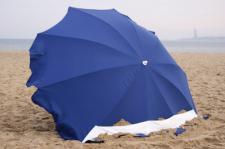 Strandmuschel + Sonnenschirm (2in1) aus Polyester UPF 80+, 240 cm, blau