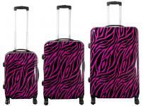 Kofferset 3 tlg. Trolleyset Reisekoffer Hartschale ZEBRA pink