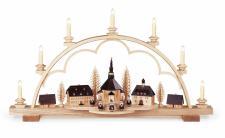 Müller-Kleinkunst aus dem Erzgebirge® seit 1899 Schwibbogen Seiffener Dorf mittelgroß, naturkomplett elektr. beleuchtet LED (110V-230V), 80x15x43cm