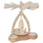 Weihnachtspyramide, Weihnachtsbaum und Rehe, für 3 Teelichter