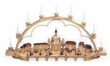 Müller-Kleinkunst aus dem Erzgebirge® seit 1899 Schwibbogen Alt Dresden groß, naturelektr. beleuchtet (120V) limitierte Auflage, 103x22x55cm