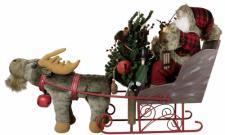Weihnachtsmann Malik 90 cm auf Schlitten + Rentier