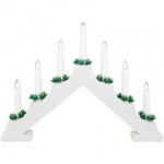 Weihnachtsleuchter, 7 warmweiße LEDs, Holz weiß