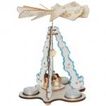 Weihnachtspyramide, Engel auf Wolke, musizierend, für 3 Teelichter