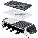 Syntrox Edelstahl Raclette für 8 Personen mit 3 Platten Heißem Stein und Grill
