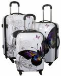 Kofferset 3 tlg. Trolleyset Reisekoffer Hartschale Butterfly