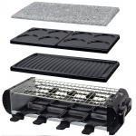 Syntrox Design Raclette Liestal mit 4 Wechselplatten und Heißem Stein für 8 Personen Grill