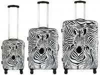 Kofferset 3 tlg. Trolleyset Reisekoffer Hartschale ZEBRA