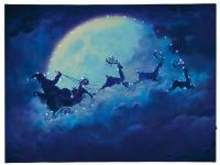 Hellum LED-Fiberoptik-Bild ''Weihnachtsmann m. Schlitten'' innen