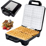 Syntrox Waffeleisen für Belgische Waffeln XLC mit Keramikplatten Thermostat und Edelstahldekor