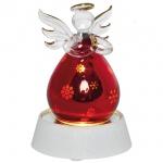 LED-Glasfigur rot, 1 warmweiße LED Engel