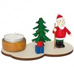 Teelichthalter, Weihnachtsmann Baum mit Geschenken, Holz