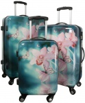 Kofferset 3 tlg. Trolleyset Reisekoffer Hartschale Orchidee