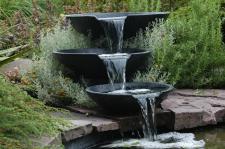 Nova Scotia, 3 Wasserfallschalen inkl. Pumpe, Terrazzo, Ø 35/45/55cm, 4m Schlauch