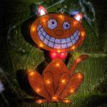 Hellum Halloween LED-Außenmotiv Katze 23 BS gelb/weiß/rot außen