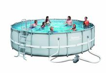 Bestway Frame Pool Power Steel Set hellgrau mit Filterpumpe + Zubehör 549 x 132 cm