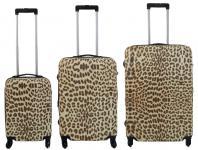 Kofferset 3 tlg. Trolleyset Reisekoffer ABS - Hartschale LEOPARD