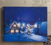 Hellum LED-Fiberoptikbild ''Dorf im Winter'' warmweiß innen