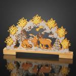 LED-Leuchter Holz Winterland/Rentiere 10 BS warmweiß innen