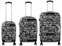 Kofferset 3tlg Reisekoffer Polycarbonat Hartschale City II schwarz