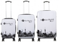 Kofferset 3tlg Reisekoffer Polycarbonat Hartschale Fly the world weiß