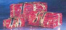 Geschenkpakete-Set 3tlg. klar, rot innen