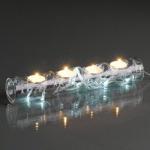Glaskerzenhalter m. LED-Lichterkette warmweiß/silber innen