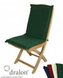 Klappstuhlauflage aus hochwertigem Dralon 4 cm dick von Kai Wiechmann® / Polster/ Kissen/ Gartenmöbel/ Auflage für Sessel oder Stuhl mit niedriger Rückenlehne