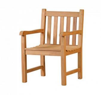 """Massiver Sessel aus der Serie """"Andorra"""" hochwertig gefertigt aus Teakholz mit Armlehne und Rückenlehne von Kai Wiechmann® / Stuhl/ Gartenstuhl/ Gartenmöbel/ Gartensessel/ Teak-Sessel"""