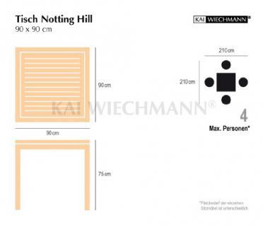 """Moderner Design Gartentisch aus der Premium-Serie """"Notting Hill"""" gefertigt aus Teakholz 90x90 cm von Kai Wiechmann® / Teak-Tisch/ massiv/ Esstisch/ quadratisch/ Premium-Qualität - Vorschau 5"""