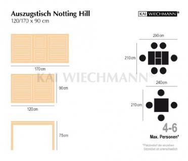 """Moderner Design Ausziehtisch aus der Premium-Serie """"Notting Hill"""" gefertigt aus Teakholz 120 cm ausziehbar auf 170 cm Kai Wiechmann® / Gartentisch/ Auszugstisch/ Teak-Tisch/ massiv/ rechteckig/ Premium-Qualität - Vorschau 5"""