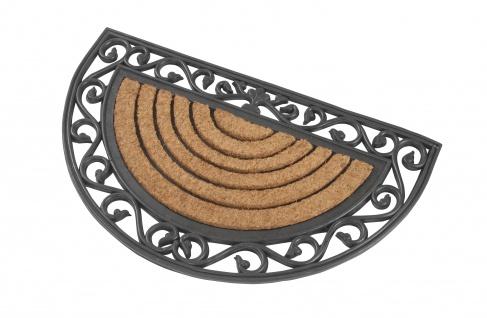 Halbrunde Fußmatte aus Gummi und Kokos 76x44 cm