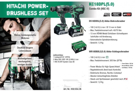 Hitachi POWER BRUSHLESS SET KC18DPL(5.0) Combo Kit (HSC III)