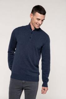 Kariban Premium-Pullover mit geknöpftem Ausschnitt