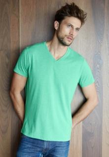 Kariban Kurzarm-T-Shirt mit V-Ausschnitt, Mischgewebe