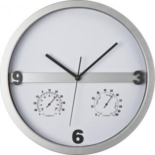 MACMA Wanduhr mit Hygro - und Thermometer, halbes Display bedruckbar