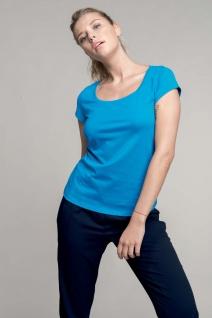 Kariban Damen-Kurzarm-T-Shirt mit U-Boot-Ausschnitt