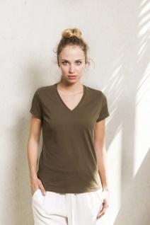Kariban No Label Organic Damen T-Shirt mit V-Ausschnitt