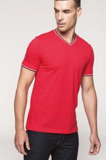 Kariban T-Shirt aus Piqué-Trikot mit V-Ausschnitt für Herren