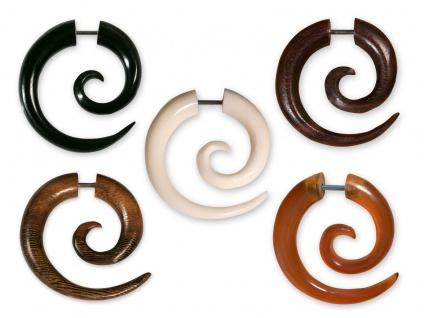 Fake Piercing Spirale Horn Holz Ohrring schwarz braun Plug Schraubverschluss