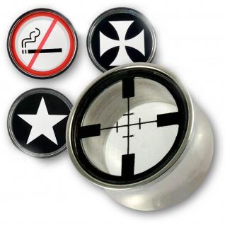 Flesh Tunnel Plug Edelstahl Fadenkreuz Eisernes Kreuz Stern Star No Smoking emo