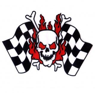 Aufnäher Aufbügler Schädel Racing Flagge groß Skull Totenkopf Patch 24 x 17 cm