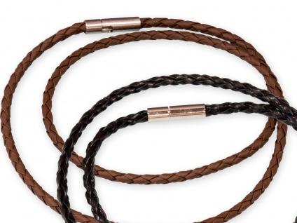Lederkette für Anhänger Halskette geflochten mit Verschluss Damen Herren schwarz