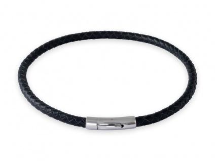 Lederkette Schwarz Halskette Armband geflochten mit Verschluss Damen Herren (18-70 cm) nest011_black