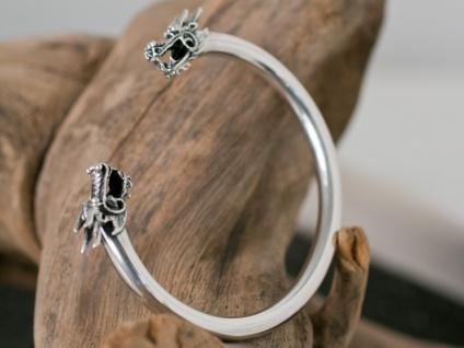 Drachen Armreif Silber 925 Herren Armspange Armschmuck Armband Wikinger massiv