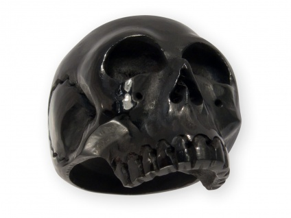 Herren-Ring Klassischer Totenschädel Skull Horn Knochen Totenkopf schwarz weiß - Vorschau 3