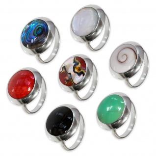 Echt 925 Silber Ring Damen Fingerring mit Stein Perlmutt Shiva Auge verstellbar