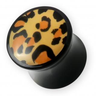 4-14mm Leo Acryl Ohr Plug flesh tunnel leopard piercing